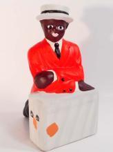 BLACK AMERICANA BOY WITH SUITCASE BANK - 6