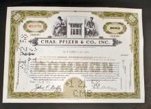 VINTAGE CHAS PFIZER AND CO. STOCK CERTIFICATE