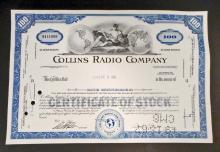 VINTAGE COLLINS RADIO STOCK CERTIFICATE