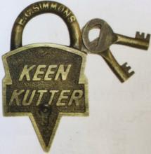 KEEN KUTTER SOLID BRASS PADLOCK W/ KEYS - 3.75