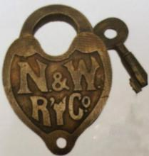 NORTHERN AND WESTERN RAILROAD SOLID BRASS PADLOCK W/ KEY - 2.5