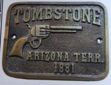 TOMBSTONE SOLID BRASS PLAQUE W/ PISTOL - 4