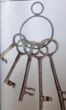 LOT OF 5 SOLID BRASS JAILERS KEYS ON RING