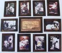 SET OF 11 SOILED DOVES FRAMED BROTHEL PHOTOS AND LICENSE