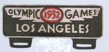 1932 LOS ANGELES OLYMPICS ALUMINUM CAR LICENSE PLATE TOPPER