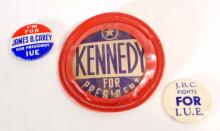 LOT OF 3 VINTAGE PRESIDENTIAL CAMPAIGN BUTTONS - JFK