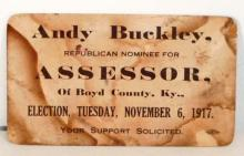 1917 REPUBLICAN NOMINEE FOR THE ASSOSSOR OF BOYD COUNTY KY CARD