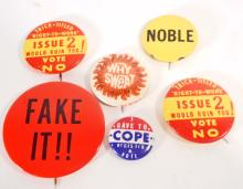 LOT OF 6 VINTAGE PINBACK BUTTONS - PRESIDENTIAL, UNION