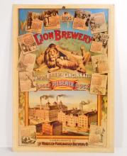 LION BEER BREWERY PAPER ADVERTISING SIGN