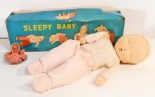 VINTAGE JAPAN SLEEPY BABY TOY DOLL IN ORIGINAL BOX - 6.5
