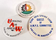 LOT OF 3 VINTAGE MANSFIELD OHIO PINBACK BUTTONS