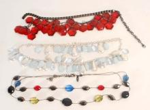 LOT OF 3 VINTAGE COSTUME JEWELRY NECKLACES