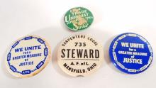 LOT OF 4 VINTAGE IUE - INTERNATIONAL UNION OF ELECTRONIC PINBACK BUTTONS
