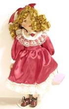 VINTAGE CLASSICAL TREASURES PORCELAIN DOLL W/ STAND
