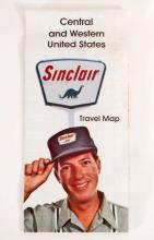 VINTAGE 1970 SINCLAIR ROAD MAP - DINOSAUR LOGO