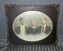 LARGE ANTIQUE PHOTO OF 3 BOYS IN AN ANTIQUE FRAME