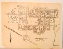 VINTAGE BLUEPRINT OF THE NAVAL CONSTRUCTION TRAINING CENTER IN DAVISVILLE RI