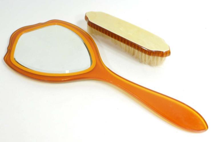 Vintage Vanity Hand Mirror And Brush Set Decorative Backing