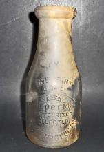 VINTAGE IMPERIAL GLASS MILK BOTTLE - 7