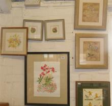 Eight various colour prints & paintings including two coloured ink drawings of toadstools by Bryan H