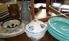 Chinese carved bamboo brush pot (A/F), and a set of six turquoise 1950s Fiesta Ware oval plates, Stu
