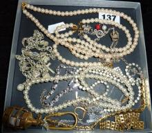 Assorted costume jewellery including silver charm necklace, other charms, faux pearls, diamante etc