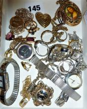 Assorted costume jewellery, rings, watches etc