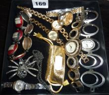 Tray of contemporary costume jewellery and watches