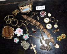 Vintage and older costume jewellery, inc. pressed glass insect studs, suffragette chain link brooch,