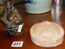 Tibetan Buddha incense burner and a terracotta votive plaque