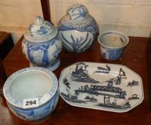 Two 20th c. Chinese blue and white lidded pots and 3 others