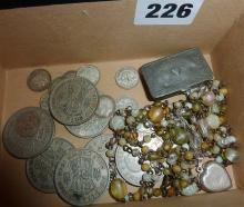 Assorted coins, some silver, silver locket, pewter stamp box etc