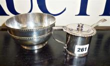 Hallmarked silver large mustard pot and spoon with blue glass liner, and a