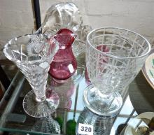 Cut glass vases, basket and some cranberry glass