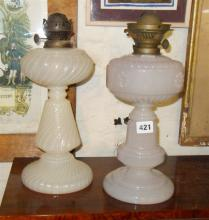 Two Victorian milk glass oil lamp bases