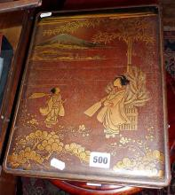 Early 20th c. Meiji period Japanese lacquered box decorated with figures to