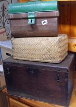 Old oak box, a small tin trunk and a small Moses basket