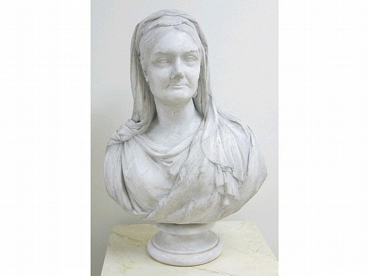 W BEATTIE, 1845, A white marble Bust of Noble Lady