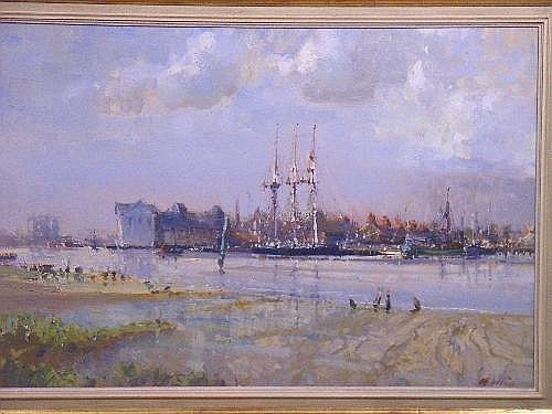 GEOFFREY CHATTEN (b. 1952) On the river Yare, Great Yarmouth signed 'Chatten' (lower right) oil on canvas board 25 x 36in (63.5 x 91.5cm) Estimate