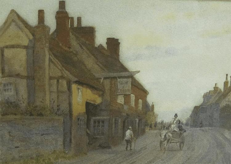 HAMPSON JONES. Outside the Rose and Crown, signed