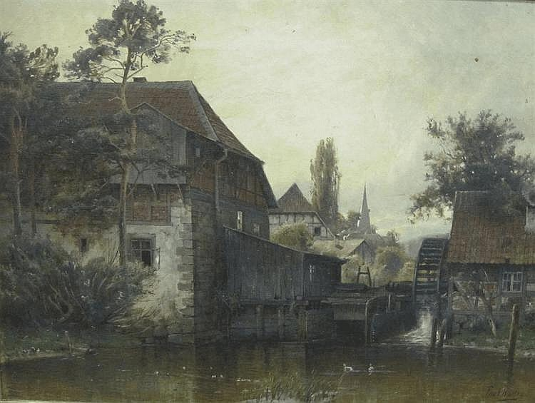 PAUL KOKEN. A Landscape with watermill and distant