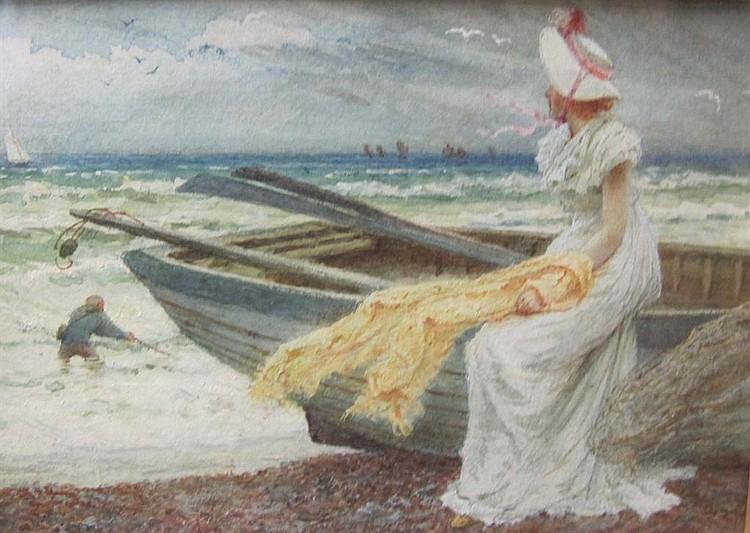 EDWARD FREDERICK BREWTNALL (1846-1902) - Watching the Yacht