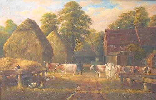 GEORGE WILLIS-PRYCE (fl. c1880-1910) In a Farmyard