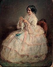 Charles CHAPLIN (1825-1891) Jeune femme cousant