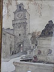 PRAT LOYS (1879-1934) Le Beffroi Aquarelle, signée