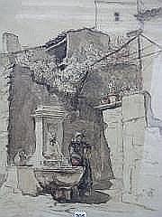 PRAT LOYS (1879-1934) Vieille fontaine à Grignan