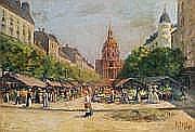 TOBEEN (actif au XXe siècle) Le marché devant la