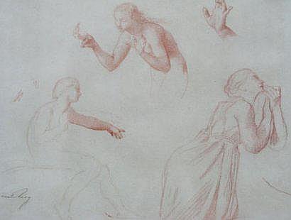 LEVY EMILE (1826-1890) Etude de femmes Sanguine,