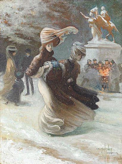 Albert MANTELET (1858-?) La neige à New-York Huile