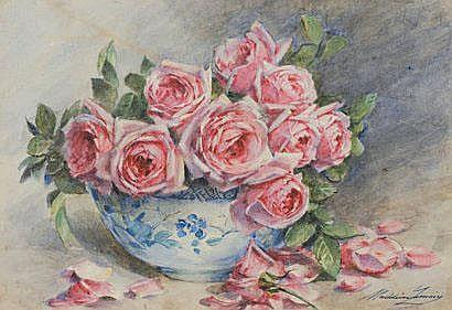 Madeleine LEMAIRE (1845-1928) Bouquet de roses